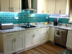Green Glass Kitchen Backsplash Tiles For Emerald Subway Tile Blue