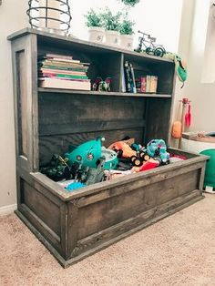 Farmhouse Toy Box Book Shelf Too many toys and no where to put them? Check out our Farmhouse Toy Box. This beautiful Toy Box will certainly fit all those new toys from Santa, and keep them tastefully stored away. Farmhouse Toy Boxes, Hot Wheels Display, Big Toy Box, Toy Box With Shelf, Diy Toy Storage, Storage Ideas, Storage Solutions, Organization Ideas, Large Toy Storage