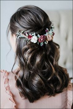 wedding hairstyles with crown Wedding Hairstyle Burgundy Flower crown Beige Flower crown Fall floral crown Half Up Wedding Hair, Winter Wedding Hair, Red Wedding, Best Wedding Hairstyles, Bride Hairstyles, Hairstyle Wedding, Hairstyle Ideas, Party Hairstyles, Short Hairstyles