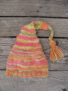 Baby Elf Hat Handknit Handspun Hand Dyed by PineSpiritWoolworks
