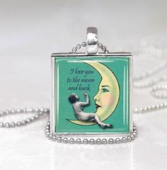 Love You To The Moon  Glass Tile Pendant by DesignsofFaithandJoy