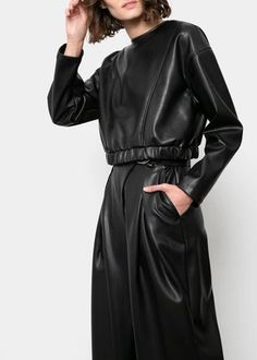 Teen Fashion Outfits, High Fashion, Race Day Outfits, Casual Dresses, Casual Outfits, African Wear Dresses, Leather Mini Dress, Leather Jacket Outfits, All Black Outfit
