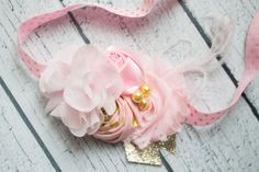 Little Lady gold and pink baby headband by BabycakesBowtiquee2