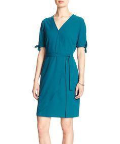 Truly Teal Bow-Sleeve Wrap Dress