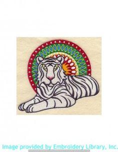 Stickmotiv Stickbild Aufnäher Stickerei Emblem Asien Tiger Tiger / Stickerei India Tiger (A7785)
