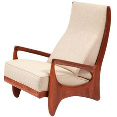 """Prototype Walnut & Linen Allen Ditson Chair. Free form walnut lounge chair by Allen Ditson from 1963. This signed and dated one off chair has a wonderfully sculpted form that looks great from every angle. The wood has recently been oiled and the upholstery done in a fine cotton linen. Arm height is 21"""". 5.8K"""