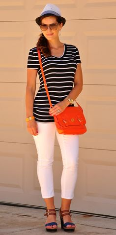 White Jeans Striped