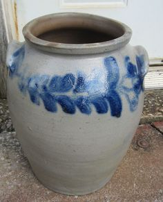 C 1860 blue decorated 4 gal stoneware crock Baltimore NEAR MINT!