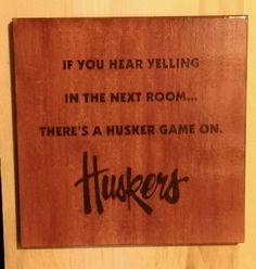 Wood Burned Nebraska Cornhusker Sign by HowNeatIsThat on Etsy, $19.99