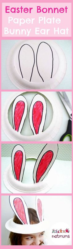 Make this super cute bunny ears Easter bonnet in minutes. A cute and easy Easter craft for kids. #Eastercraftideasforkids
