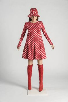 Biba, Red and white spotted girl's dress and over-the-knee boots, 1972. Selector: Moira Keenan, The Sunday Times, courtesy of the Fashion Museum, Bath