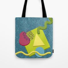 Neo Memphis Fun Face Tote Bag by squibble https://society6.com/product/neo-memphis-fun-face_bag