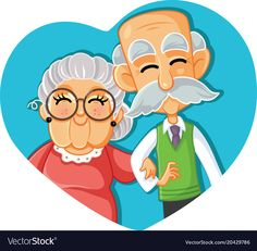 Senior Couple in Love Vector Cartoon Illustration. Grandma and grandpa celebrating long-term relationship Relationship Cartoons, Relationship Images, Grandparents Day Crafts, Love Cartoon Couple, Funny Anniversary Cards, Diy Gifts For Friends, Simple Doodles, Grandma And Grandpa, Cartoon Pics