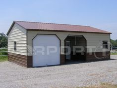 This vertical roof, deluxe two-tone siding, steel garage building features two side-entry electric garage doors and also has an enclosed 10' wide x 24' storage building on the right end. This unit is perfect for protecting vehicles and for providing additional closed storage space  for other items.