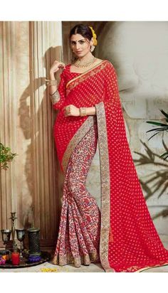 Maroon and cream Brasso and georgette Saree With Georgette Blouse - DMV10167