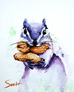 Squirrel painting animal art kids room art squirrel print by SignedSweet on Etsy Watercolor Pictures, Watercolor Animals, Watercolor Print, Watercolor Paintings, Watercolor Ideas, Wildlife Paintings, Animal Paintings, Squirrel Art, Woodland Critters