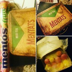 INT PER CHR  For the record I lined my #Mentats tin from @theskimdotnet with a small sheet of wax paper and use it to carry my Fruit Mentos candy. Technically In-Universe Mentats are descrbed as being chalky like Necco Wafers but the flavor variants found in later games (orange grape berry) are better suited to Fruit Mentos. #Fallout #chems #cosplay #cosplayprops