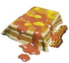 Pancakes, butter, and syrup quilt. With bacon rug. By Ros Cross.