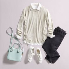 Business up top, laid-back on the bottom. If you're just dipping your toes into Athleisure style, pair a classic tailored shirt and pullover with easy joggers for a casually polished look. #StylistTip