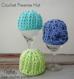 Crochet Preemie Hat ~ pattern ᛡ