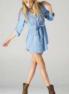 Light Denim Button Down Dress with Tie-Waist Pockets,  Dress, denim dress  shirt dress, Casual