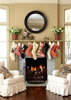 christmas mantel | I should use  the entertainment center as a mantel...