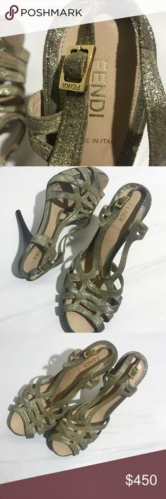 Fendi High heels Gold/green Fendi strapping open toe heels. Authentic. Classy shoe, great for summer. Normal wear still in great condition. Fendi Shoes Heels