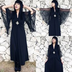 Vintage 70s Black Polyester Sheer Angel Bell Sleeve Full Sweep Stevie Nicks Witchy Maxi Dress M // L  SOLD!  https://www.etsy.com/listing/207514433/vintage-70s-black-polyester-sheer-angel