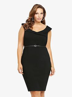Off-The-Shoulder Belted Pencil Dress | Torrid