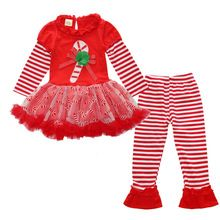 ST263 Girl Christmas Costume 2016 Autumn Children long-sleeved dress + legging 2 pcs. Suit Girl Clothing Set Children's clothing(China (Mainland))