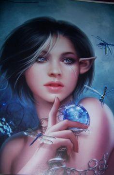 By Cris Ortega (elf girl and dragonflies) Fantasy Life, Fantasy Women, Fantasy Paintings, Fantasy Artwork, Types Of Elves, Elf Art, Elves And Fairies, Cool Artwork, Amazing Artwork