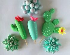 12 Assortment of Fondant Cactus & Succulents for Cakes and Cupcakes Fondant Toppers, Fondant Cupcakes, Cupcake Cakes, Mini Cakes, Cupcake Toppers, Fondant Flowers, Sugar Flowers, Polymer Clay Crafts, Diy Clay