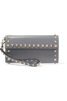 Valentino | The Rockstud wristlet leather wallet | NET-A-PORTER.COM