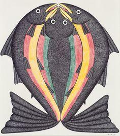 Split Fish by Kenojuak Ashevak Medium: ink, coloured pencil Size: 20 × inches Inuit People, Happy Owl, Inuit Art, Canadian Art, Indigenous Art, Geometric Designs, Colored Pencils, Line Art, Cool Art