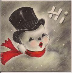 Vintage 1950s Used HALLMARK Christmas Card Carolling Top Hat Snowman Red Scarf