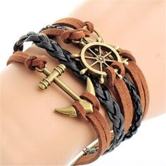 $2.74 Vintage Anchor and Helm Embellished Multilayered Wrap Bracelet For Women