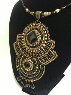 Bead Embroidery Pendant. Beaded necklace. by PanitaJewellery, $135.00