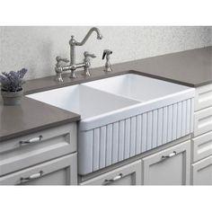 L x W Double Bowl Fluted Farmhouse Kitchen Sink – Ikea Farmhouse Sink Farmhouse Sink Kitchen, Small Kitchen, Kitchen Remodel, New Kitchen, Farmhouse Kitchen, Butler Sink, Kitchen Renovation, Sink, Kitchen Design