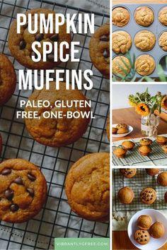 These Gluten Free, Dairy Free, Paleo Pumpkin Muffins, Pumpkin Muffin Recipes, Gluten Free Pumpkin, Gluten Free Baking, Holiday Recipes, Dairy Free, Meal, Snacks, Healthy