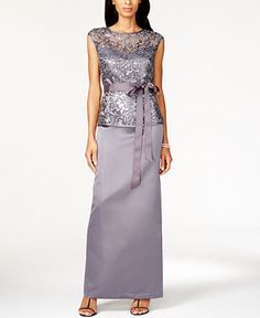 Patra Illusion Lace Belted Gown - Dresses - Women - Macy's