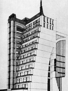 ANTONIO SANT 'ELIA, HOUSE WITH SETBACKS AND EXTERIOR LIFTS AND 'LA CENTRALE ELETTRICA',   1914