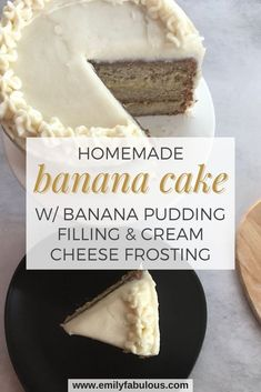 This super moist Banana Cake has a banana pudding filling, a little bit of cinnamon and homemade cream cheese frosting is a banana lover's dream! If you like bananas or banana bread, you are going to LOVE this cake! This banana cake is easy to bake and assemble into a beautiful dessert that will impress everyone. Make boxed banana pudding and homemade cream cheese frosting to take this cake to a whole new level.