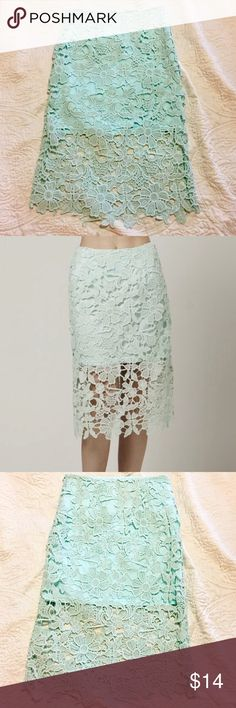 """Carapace  Lace Mint Pencil Skirt SZ S This mint green lace Carapace skirt is in excellent condition. Size Small. 25.5"""" long (measured laying flat). Carapace Skirts Pencil"""
