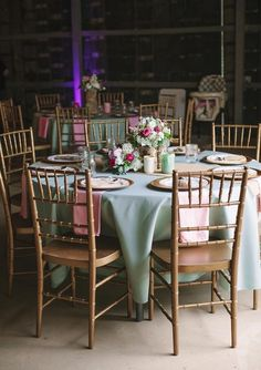 Add some Chair Ties- Very pretty Gold, mint green, coral and blush pink wedding-