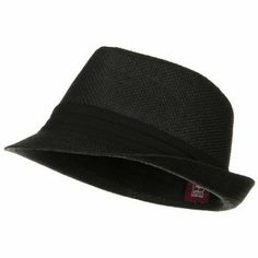Solid Band Summer Straw Fedora - Black Black W20S58B MinLee/Star/Vivian. $16.99