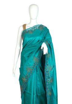 Dark Green Tussar Silk Saree with Brown Cut Work – Desically Ethnic
