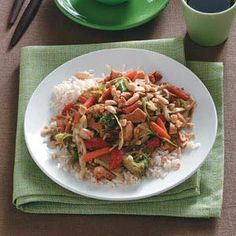 Nutty Chicken Stir-Fry.  I made this tonight and it was fab!  I did double the sauce and I would do it again.