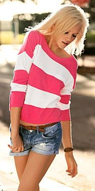 Outfit Posts: outfit post: pink striped t-shirt, cutoff jean shorts