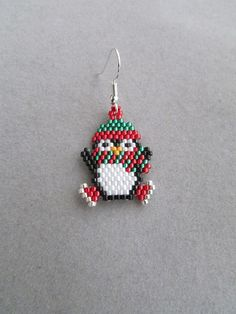 Beaded Ice Skating Penguin Earrings by DsBeadedCrochetedEtc Brick Stitch Earrings, Seed Bead Earrings, Beaded Earrings, Etsy Earrings, Seed Beads, Beaded Christmas Ornaments, Christmas Earrings, Christmas Jewelry, Bead Crochet Patterns