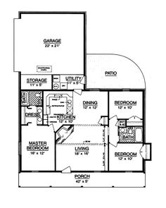 The Bowman Country Ranch Home has 3 bedrooms and 2 full baths. See amenities for Plan 020D-0015.